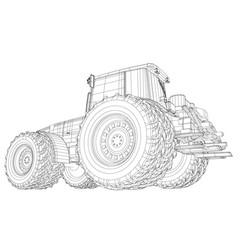 Working tractor created of 3d vector