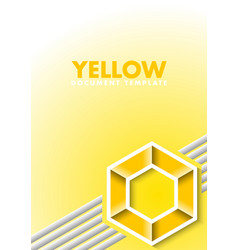yellow document template with lines and hexagonal vector image