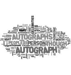 autographs text word cloud concept vector image vector image