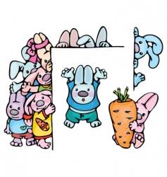 cute rabbits vector image