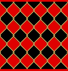Gold wire grid seamless pattern on red and black vector