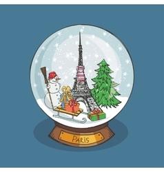 Paris Christmas Snow globeDoodle noel vector image vector image