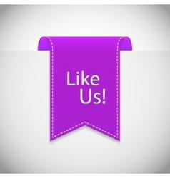 purple Like us label vector image vector image