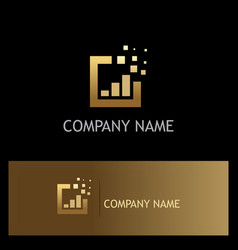 square business finance gold logo vector image