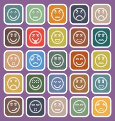 Circle face line flat icons on violet background vector image vector image