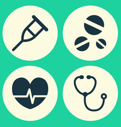 drug icons set collection of rhythm device cure vector image