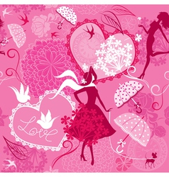 Seamless pattern in pink colors - Silhouettes of f vector image vector image