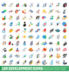 100 development icons set isometric 3d style vector image vector image