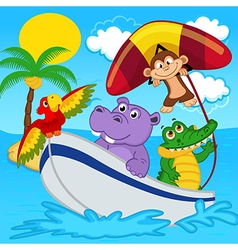 animals on boat ride with monkey on hang glider vector image