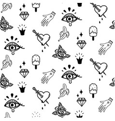 Doodle hipster flash tattoo style seamless vector