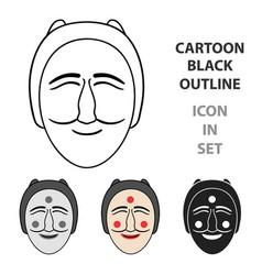hahoe mask icon in cartoon style isolated on white vector image vector image