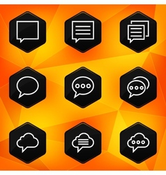 Speech bubble Hexagonal icons set on abstract vector image