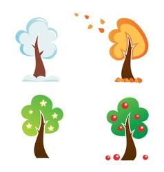all season tree icons set vector image vector image