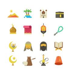 arabic muslim culture icons arabian vector image
