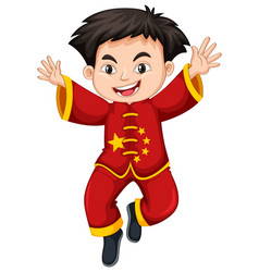 Chinese boy in traditional costume vector