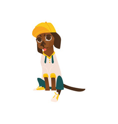 dog character in cap sticking out tongue vector image