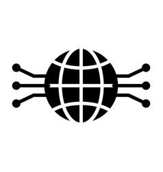 electronic circuit globe icon minimal pictogram vector image vector image