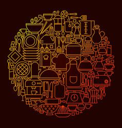 Kitchen line icon concept circle vector