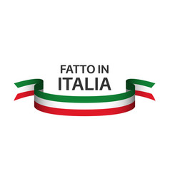 made in italy colored ribbon with italian tricolor vector image vector image