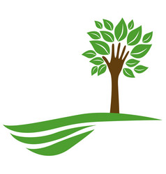 tree with leaves and stem in form hand in the vector image