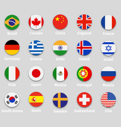 world flags round icons set vector image