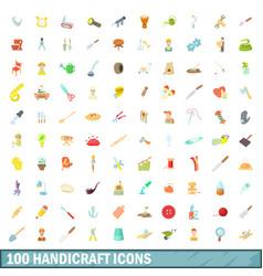 100 handicraft icons set cartoon style vector