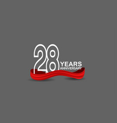 28 years anniversary line style white color vector