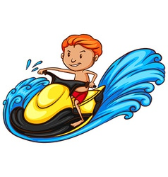 A simple coloured sketch of a man doing watersport vector image
