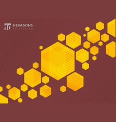 abstract geometric hexagons yellow background vector image