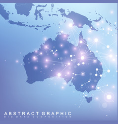 Abstract map of australia country global network vector