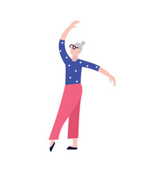active elderly woman or senior lady dancing flat vector image