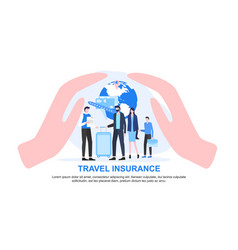 agent and family with luggage cupped hand protect vector image