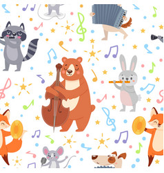 Animal musicians seamless pattern funny animals vector