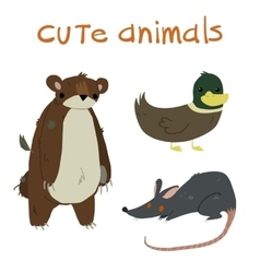 Animals set With teddy bear duck and rat flat vector