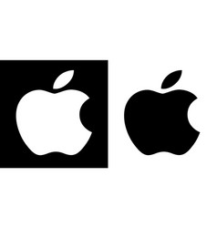 Apple company logo black and white set vector