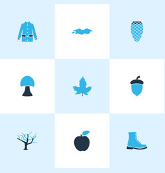 Autumn icons colored set with maple boot oak nut vector
