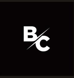 bc logo letter monogram slash with modern logo vector image