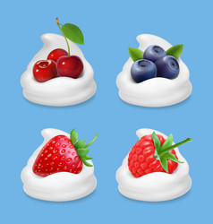 berries and yogurt realistic vector image