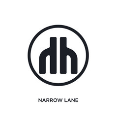Black narrow lane isolated icon simple element vector