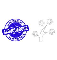 Blue distress albuquerque stamp seal and web mesh vector