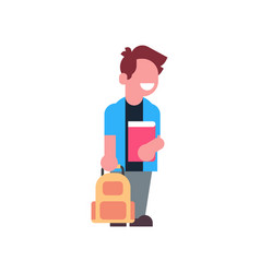 boy holding book backpack school children isolated vector image