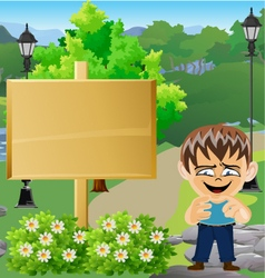 Boy in Park with Sign 11 vector
