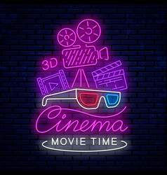 bright neon sign for cinema vector image