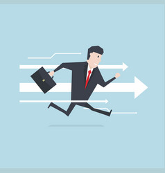 businessman runs forward to success with arrow vector image