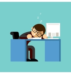 Businessman sleeping on his office desk top vector