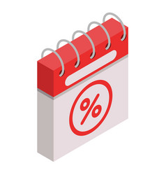 Calendar final sale icon isometric style vector