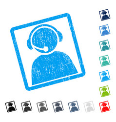 Call center operator icon rubber watermark vector