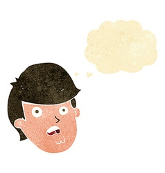 cartoon man with big chin with thought bubble vector image