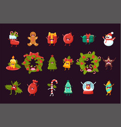 cartoon set of christmas symbols with happy vector image