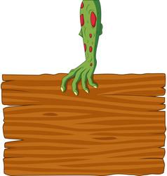 Cartoon zombie hand holding blank sign vector